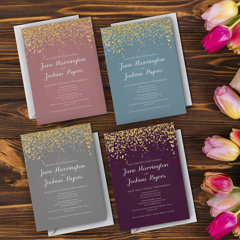 Personalised Gold Sparkly Theme Wedding Invitation and Thank You Cards Elegant Wedding Invitation and Thank You Cards