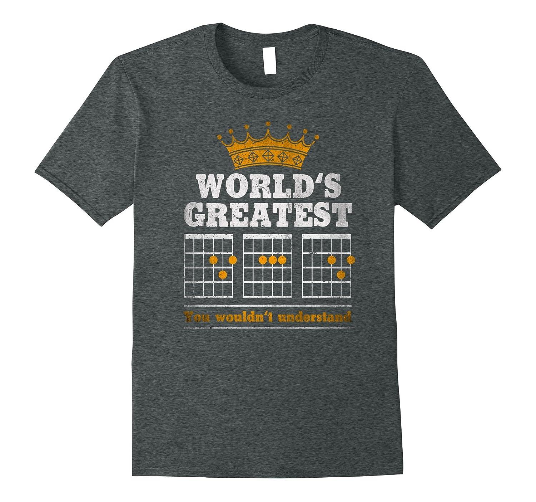 "Premium ""WORLD'S GREATEST F CHORD"" Guitar Dad T-shirt"