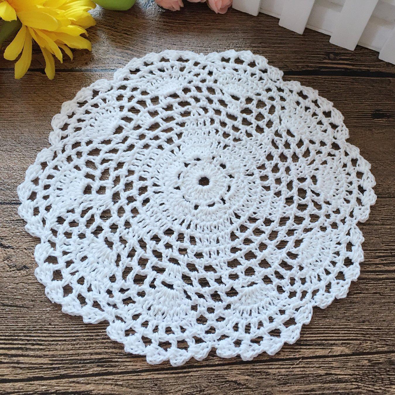 """4Pc//Lot Blue Vintage Hand Crochet Lace Doilies Round Placemats 4/"""" Floral Pattern"""