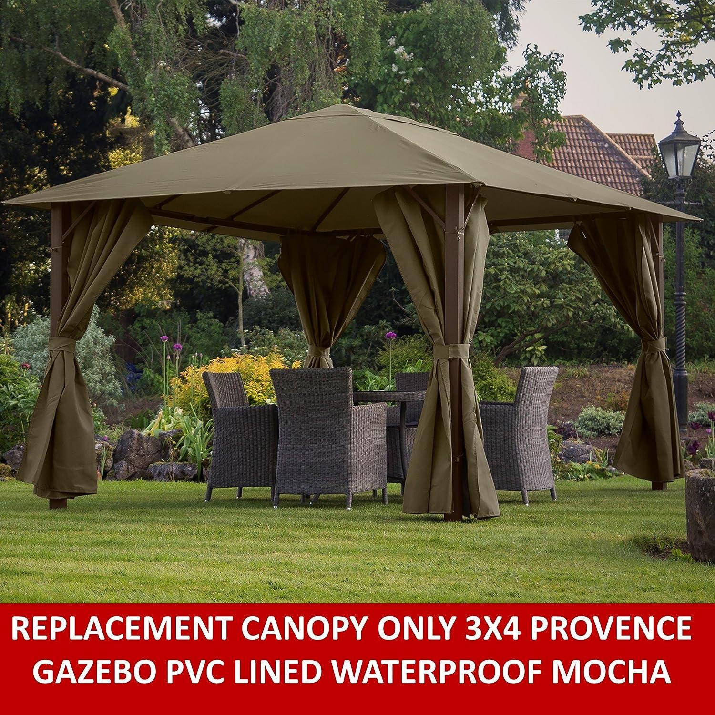 Gazebo toldo de repuesto para Provence 3 X 4 m Gazebo en color crema oscuro totalmente con forro de PVC resistente al agua: Amazon.es: Jardín