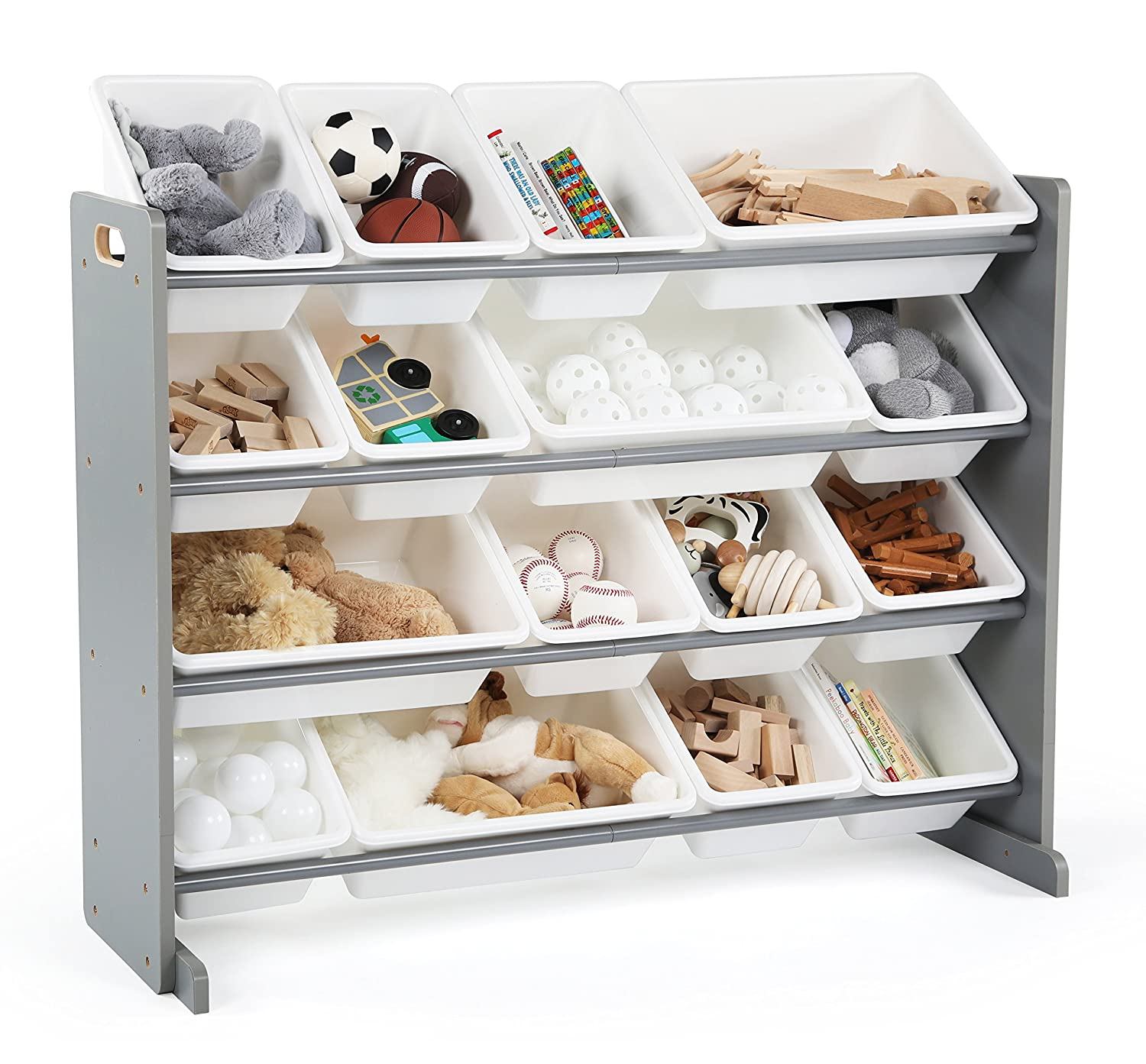 Tot Tutors WO701 Springfield Collection Supersized Wood Toy Storage Organizer Extra Large Grey/White