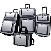 U.S Traveler New Yorker Lightweight Expandable Rolling Luggage 4-Piece Suitcases Sets - Grey