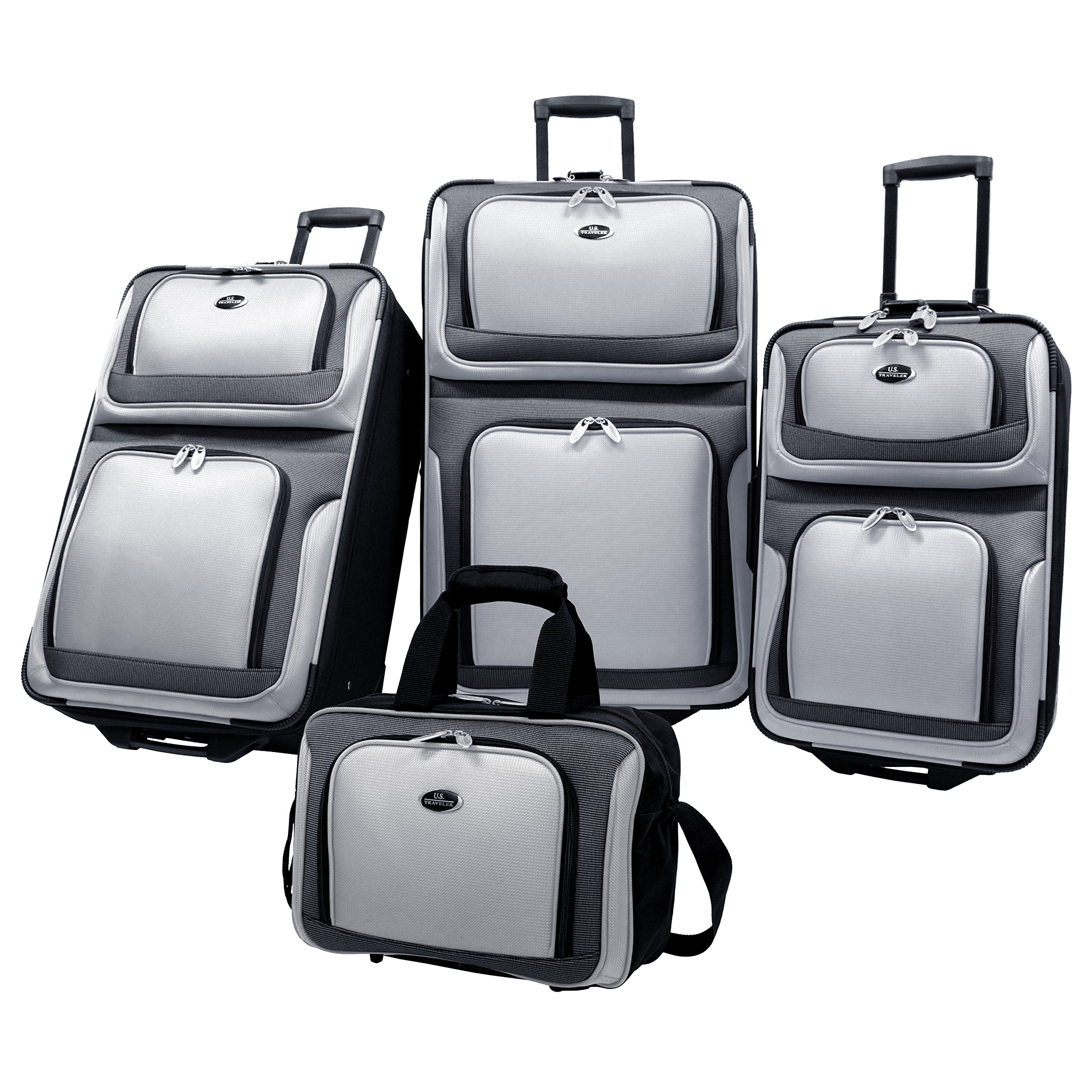 U.S. Traveler New Yorker Lightweight Expandable Rolling Luggage, Charcoal, 4-Piece Set