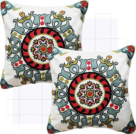 Set of 2 Purple Expressions Embroidered Throw Pillow Covers Decorative Cushion Cases 18 x 18 inch