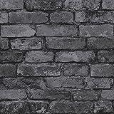 Black Rustic Brick Effect Wallpaper - Windsor Wallcoverings FD41489