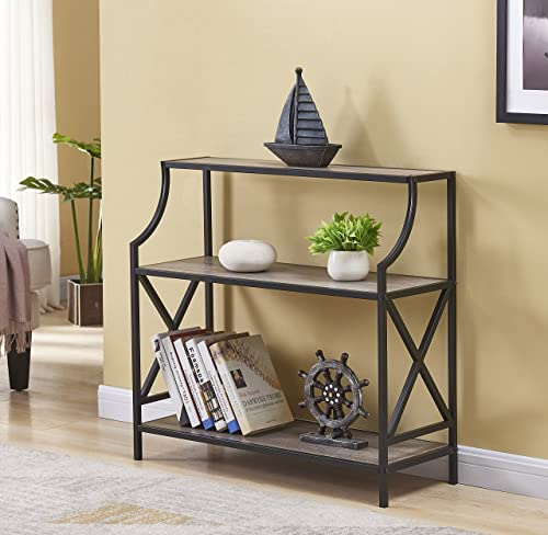 Weathered Grey Oak Metal Frame 3-Tier X-Design Magazine Bookshelf Table Holder Console Sofa Table
