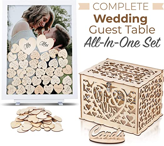 GLM Wedding Guest Book Alternative Drop Top Frame with Display Stand Baby Shower 4 Large Hearts 160 Wooden Hearts and Sign Alternative Guest Book Set Shadow Box for Wedding White Anniversary