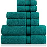 Teal : Cotton Craft Ultra Soft 6 Piece Towel Set Teal, Luxurious 100% Ringspun Cotton, Heavy Weight & Absorbent, Rayon Trim - 2 Oversized Large Bath Towels 30x54, 2 Hand Towels 16x28, 2 Wash Cloths 12x12
