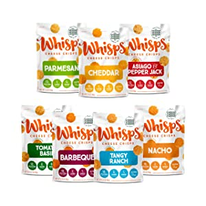 Whisps Cheese Crisps 7-Variety Pack | Parmesan, Cheddar, Asiago & Pepper Jack, Tomato Basil, Barbeque, Tangy Ranch, Nacho | Keto Snack, Gluten Free, Low Sugar & Carbs, High Protein | 2.12oz (7 Pack)