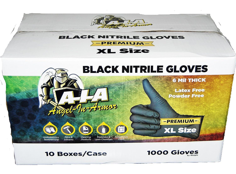 ブラックニトリル手袋6 Milの厚プレミアム完全にTexturedケース1000 L ブラック PR-NITBLK-1000 Large  B06XF9D4NP