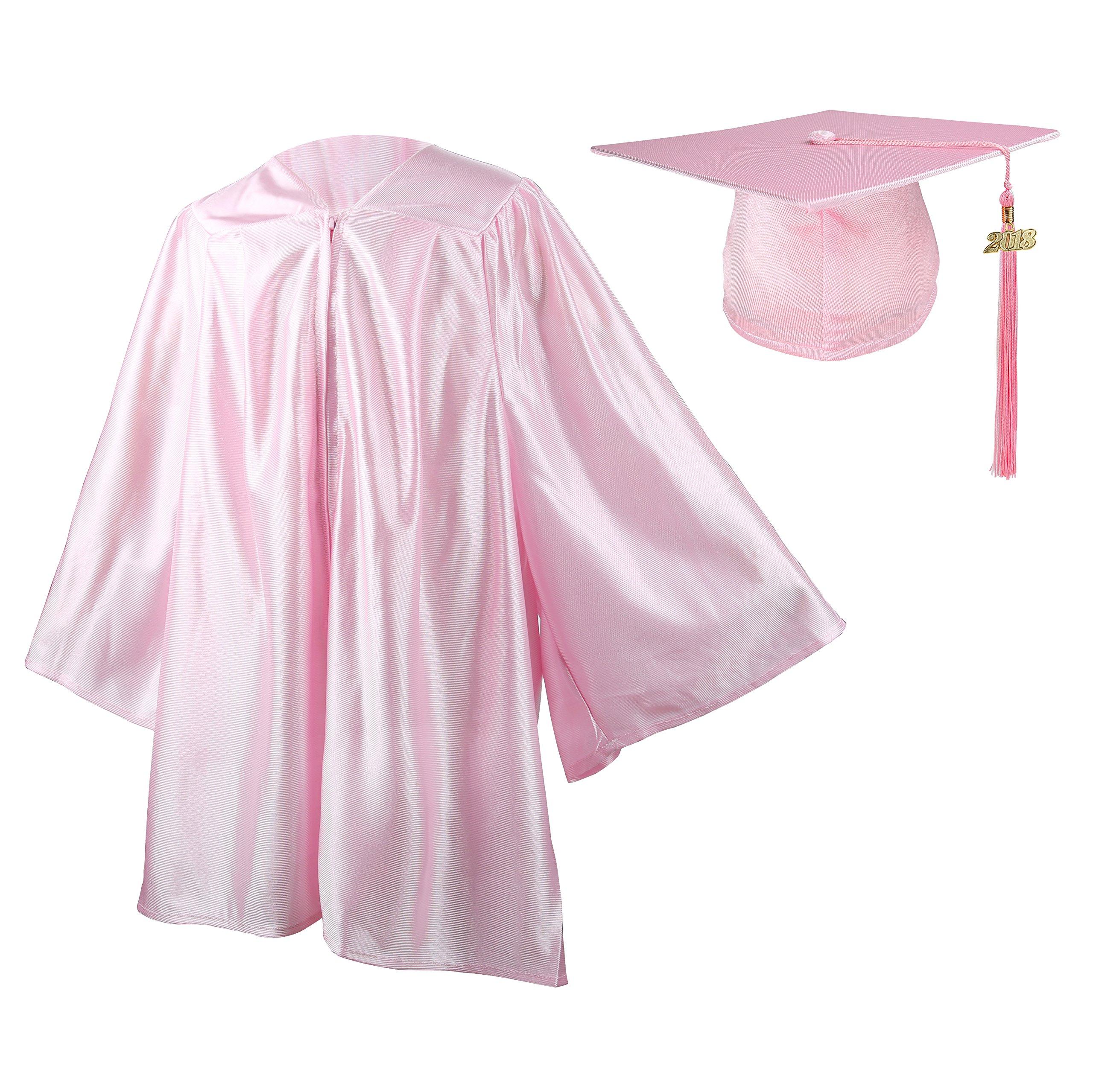 Kindergarten Graduation Gown Cap Set,Pink/White Tassel with 2017 ...