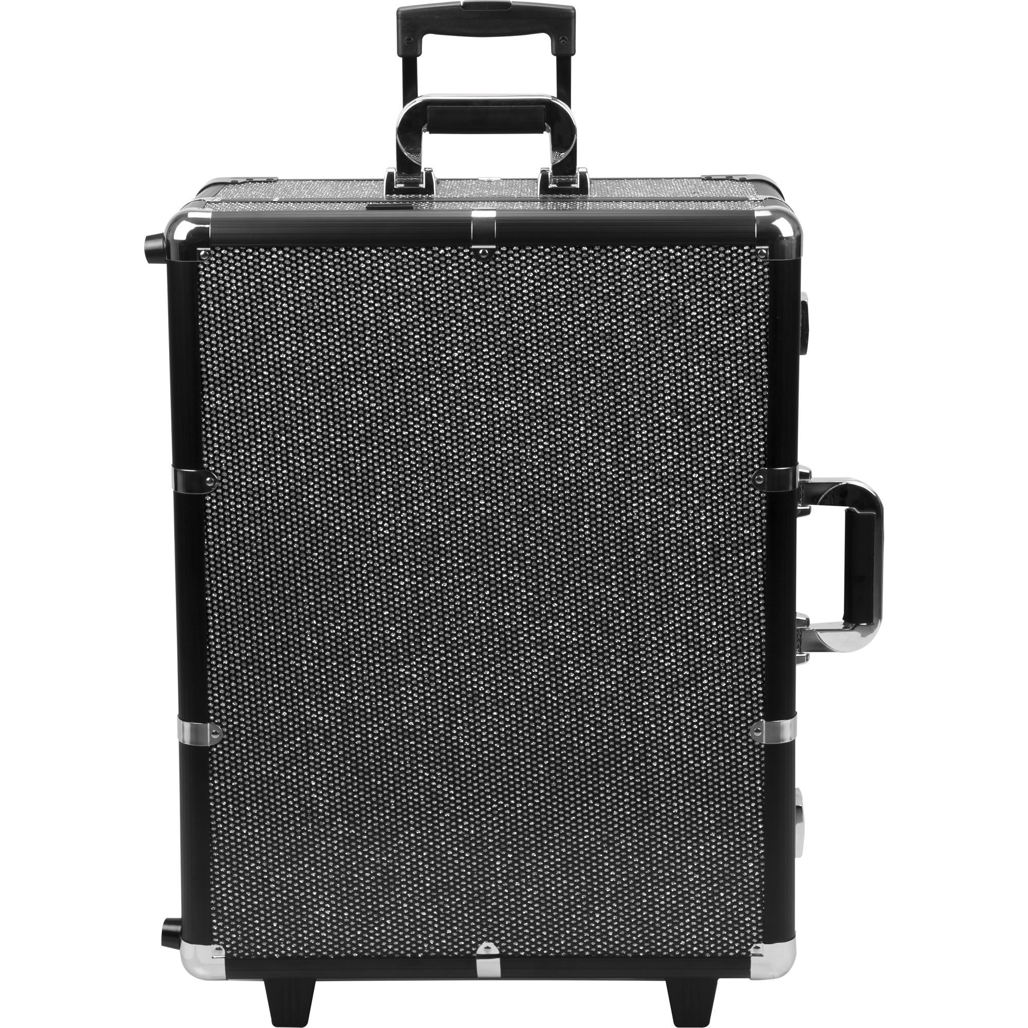 SUNRISE C6010 Lighted Makeup Case on Wheels, Portable Studio, 4 Trays and 1 Brush Tray, Dimmer Switch, Locking, Black Krystal