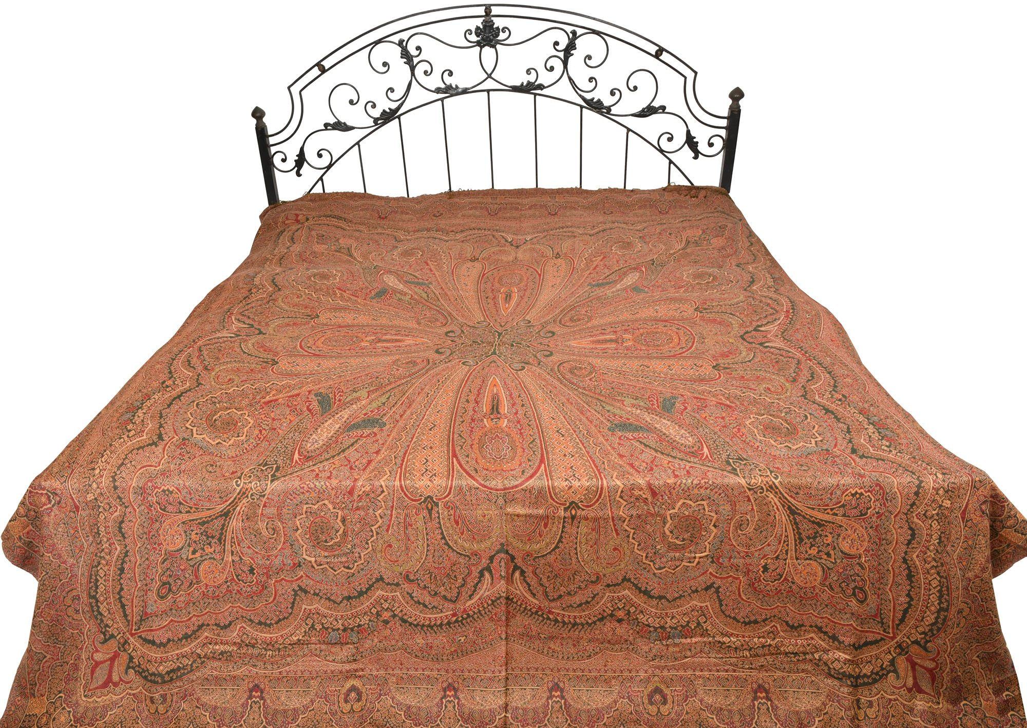 Green and red Reversible Jamawar Bedspread with All-Over Weave - Pure Cotton Wool