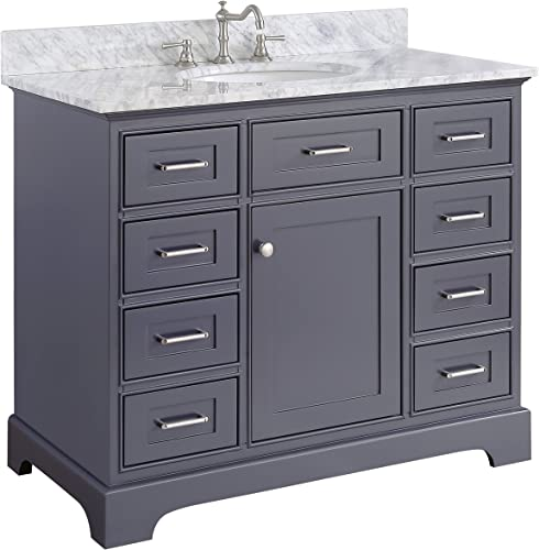 Aria 42-inch Bathroom Vanity Carrara Charcoal Gray Includes a Charcoal Gray Cabinet with Soft Close Drawers, Authentic Italian Carrara Marble Countertop, and White Ceramic Sink