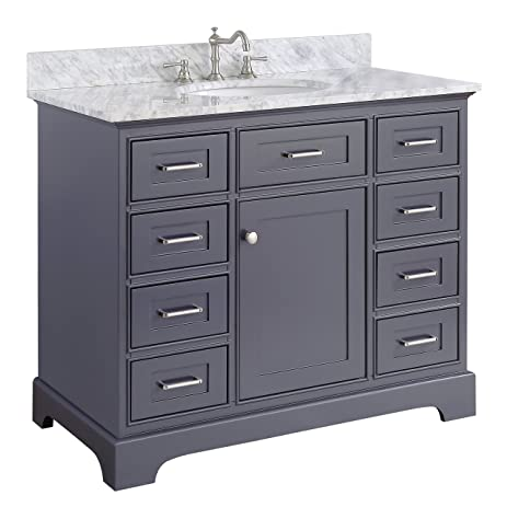 Aria Inch Bathroom Vanity CarraraCharcoal Gray Includes A - 42 gray bathroom vanity