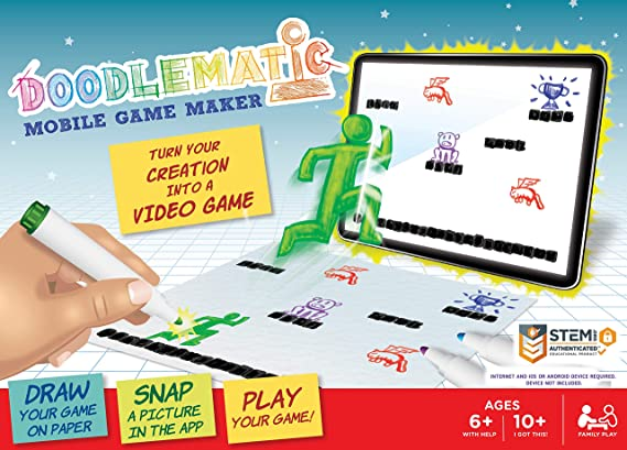 Smart Fun Video Game Maker Teaches Pre Coding Logic And Game Design. Transform Creative Drawing to Animated Playable Game on your Mobile Device! Award-winning Stem Learning Activity for Home & School.