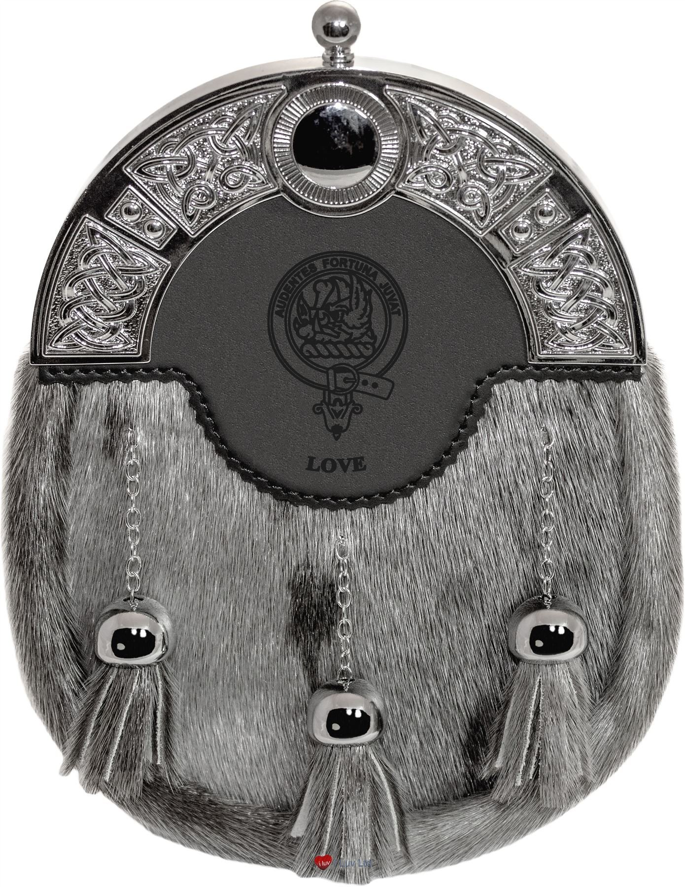 Love Dress Sporran 3 Tassels Studded Targe Celtic Arch Scottish Clan Name Crest