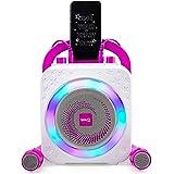 RockJam La máquina de karaoke RockJam Party con Bluetooth, altavoz de 10 vatios y dos micrófonos, Rosa