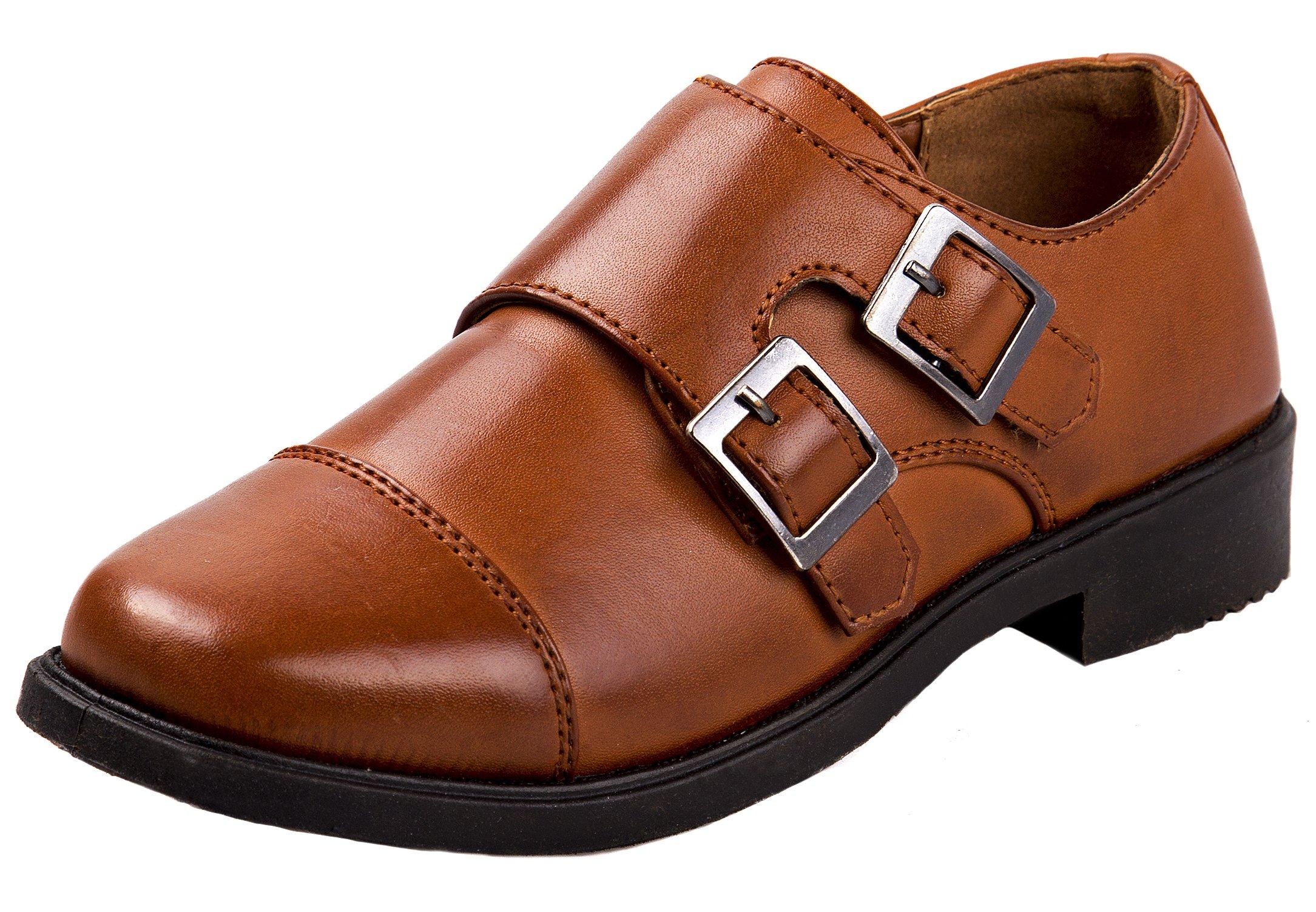 Josmo Boys Easy Strap Oxford Dress Shoe (Toddler/Little Kid/Big Kid), Brown, 11 US Toddler'