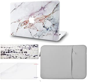 "KECC Laptop Case for MacBook Air 13"" w/Keyboard Cover + Sleeve + Screen Protector (4 in 1 Bundle) Plastic Hard Shell Case A1466/A1369 (White Marble 4)"