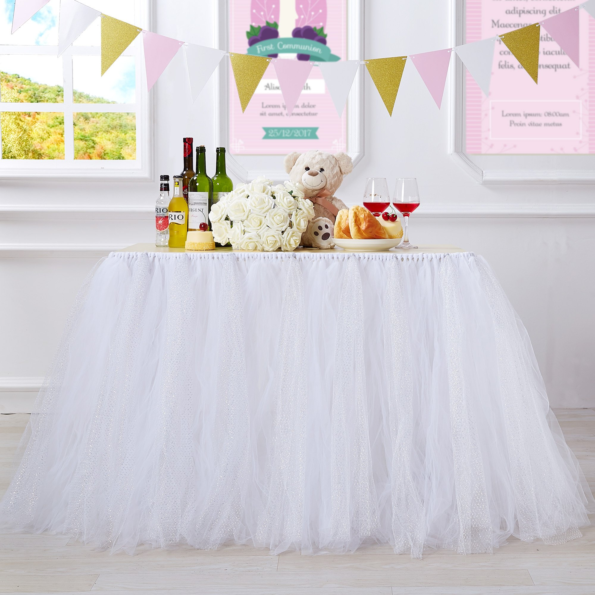 N&T NIETING Handmade Glitter Sparkle Tutu Tulle Table Skirt Cover Improved for Girl Princess Birthday Party Baby Showers Weddings Holiday Parties Home Decoration, 47''-60'' Long 32'' High (White)