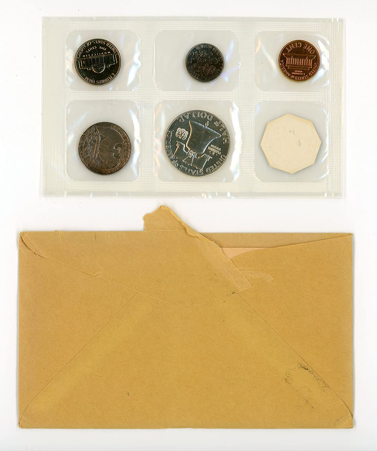 1964 American Silver Proof Set Gem Coins by the US Mint Opened Envelope