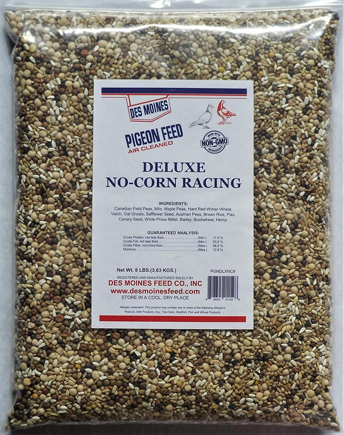 Deluxe No Corn Racer Pigeon Mix (17.5%) 8 lbs