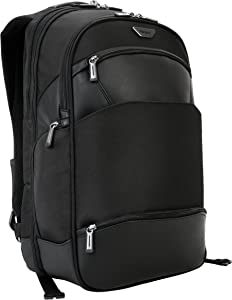 Targus Mobile-VIP Travel and TSA Checkpoint-Friendly Backpack for Business Professional Travel with Durable Weather-Resistant, Trolley Strap, Protective Sling for 15.6-Inch Laptop, Black (PSB862)
