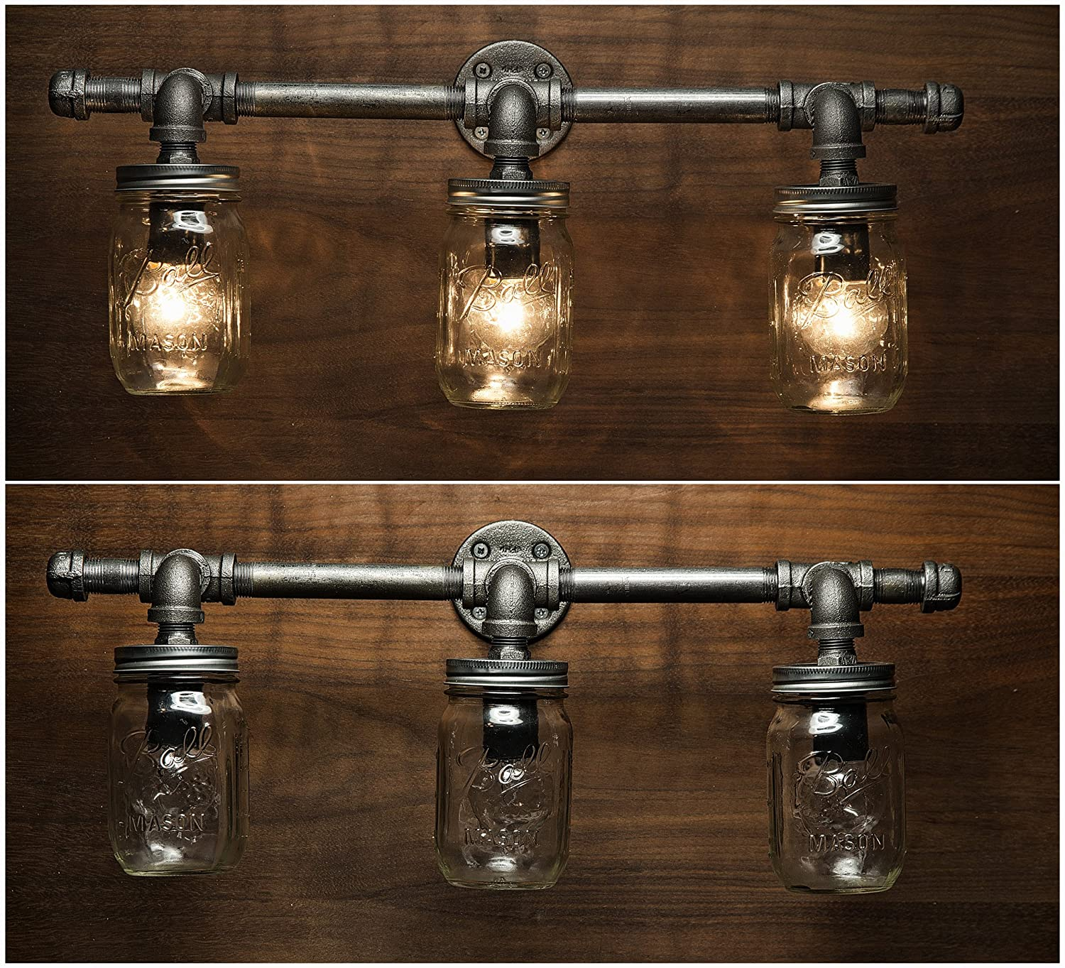 diy pipe lighting. Amazon.com: 3 Mason Jar Light - Pipe Vanity Edison Rustic Industrial Wall Sconce Steampunk Light: Diy Lighting E