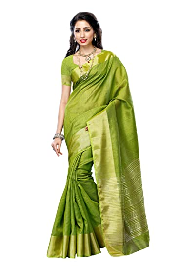 2e814bbdbe Mimosa Women's Tassar Silk Saree With Blouse Piece (2085-Olv,Olive,Free
