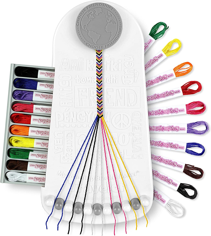 Choose Friendship, My Friendship Bracelet Maker, 20 Pre-Cut Threads (Craft Kit / Kids Jewelry Kit) - Neutral