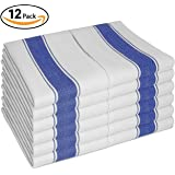 """Kitchen DISH TOWELS - Set of 12 With Loop ( 100% Cotton Large 28""""x20"""" ) - Longer Lasting, Super Absorbent In Vintage White with Blue Stripes - Unique Herringbone Design For Faster Drying & Low Lint"""