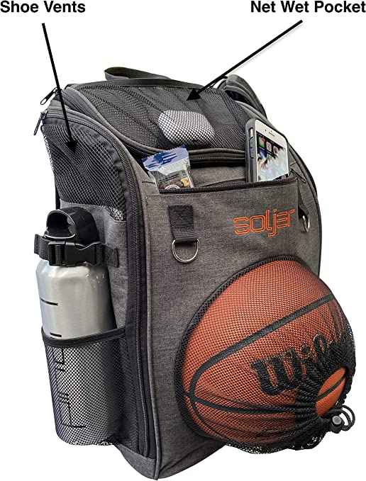 Low Profile Basketball Soccer Gym Back Pack with Wet and Shoe Compartment.
