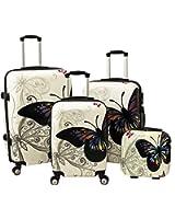 World Traveler 4 Piece Hardside Upright Spinner Luggage Set