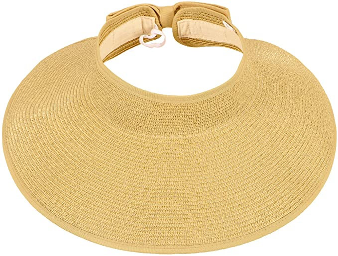 Apollo Women s Spring Summer Collection Straw Woven Wide Brim Sun Visor Hat 0b75b0842915