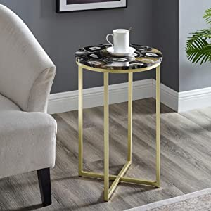 Walker Edison Modern Metal and Marble Round Side Accent Living Room Storage Small End Table, 16 Inch, Blue Agate