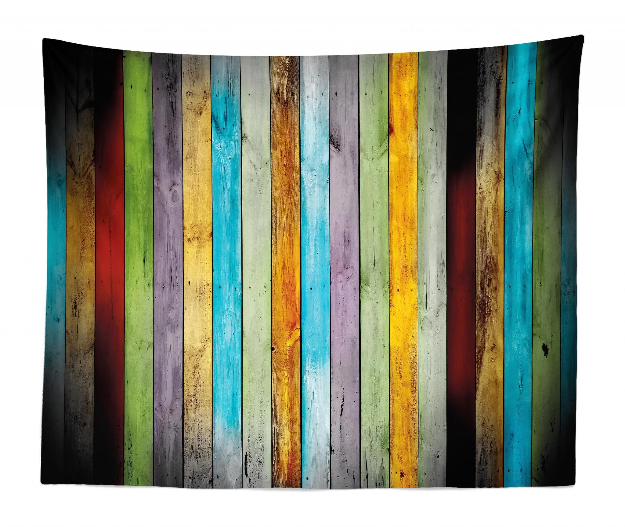 Lunarable Colorful Tapestry King Size, Vertical Wood Planks in Carpentry Oak Timber Rustic Country Life, Wall Hanging Bedspread Bed Cover Wall Decor, 104 W X 88 L Inches, Multicolor