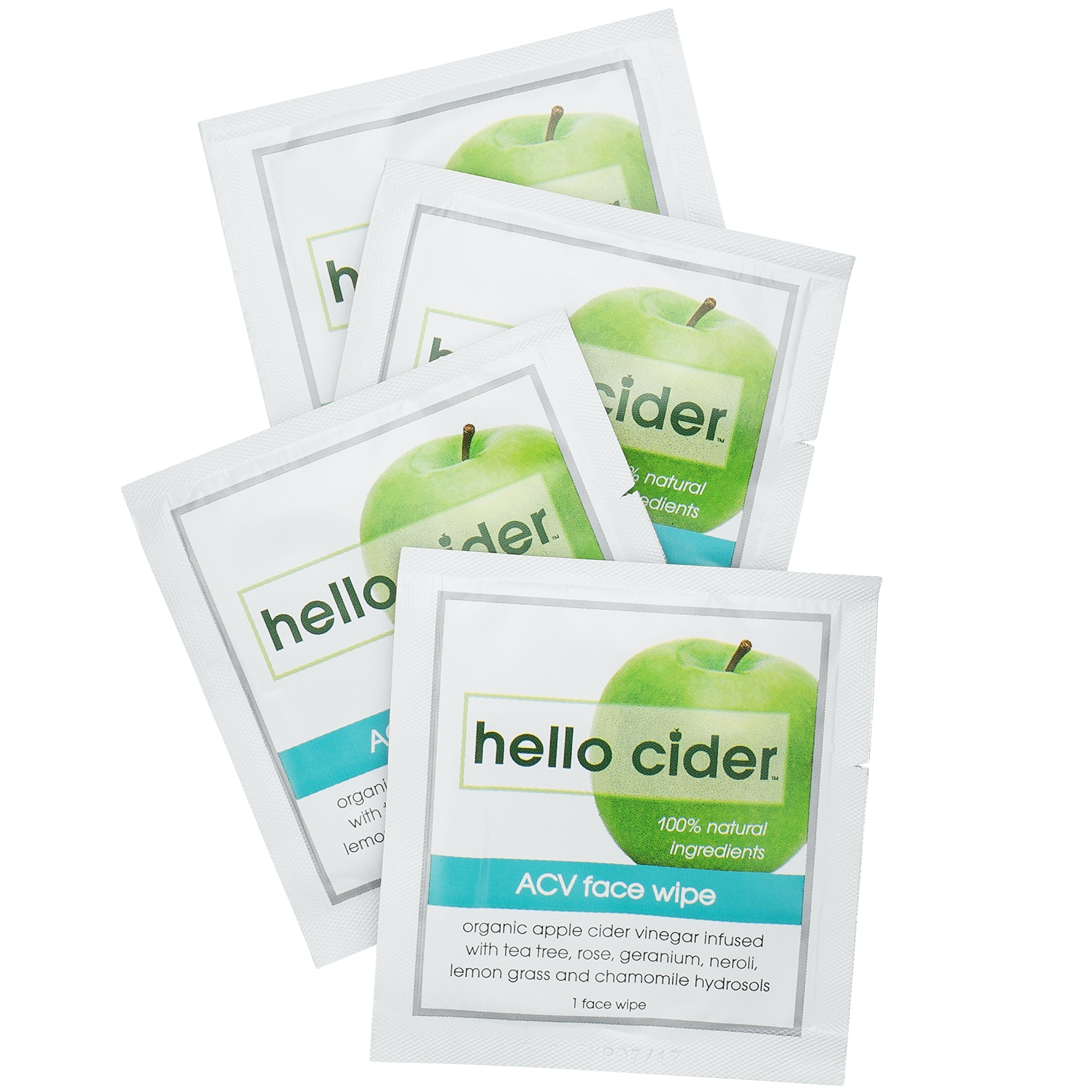 Apple Cider Vinegar Acne Treatment Face Wipes-100% Natural Organic Tea Tree+Rose Geranium+Chamomile+Witch Hazel Hydrosols. Balance pH, Tone, Cleanser, Moisturizer, 25ct Hello Cider