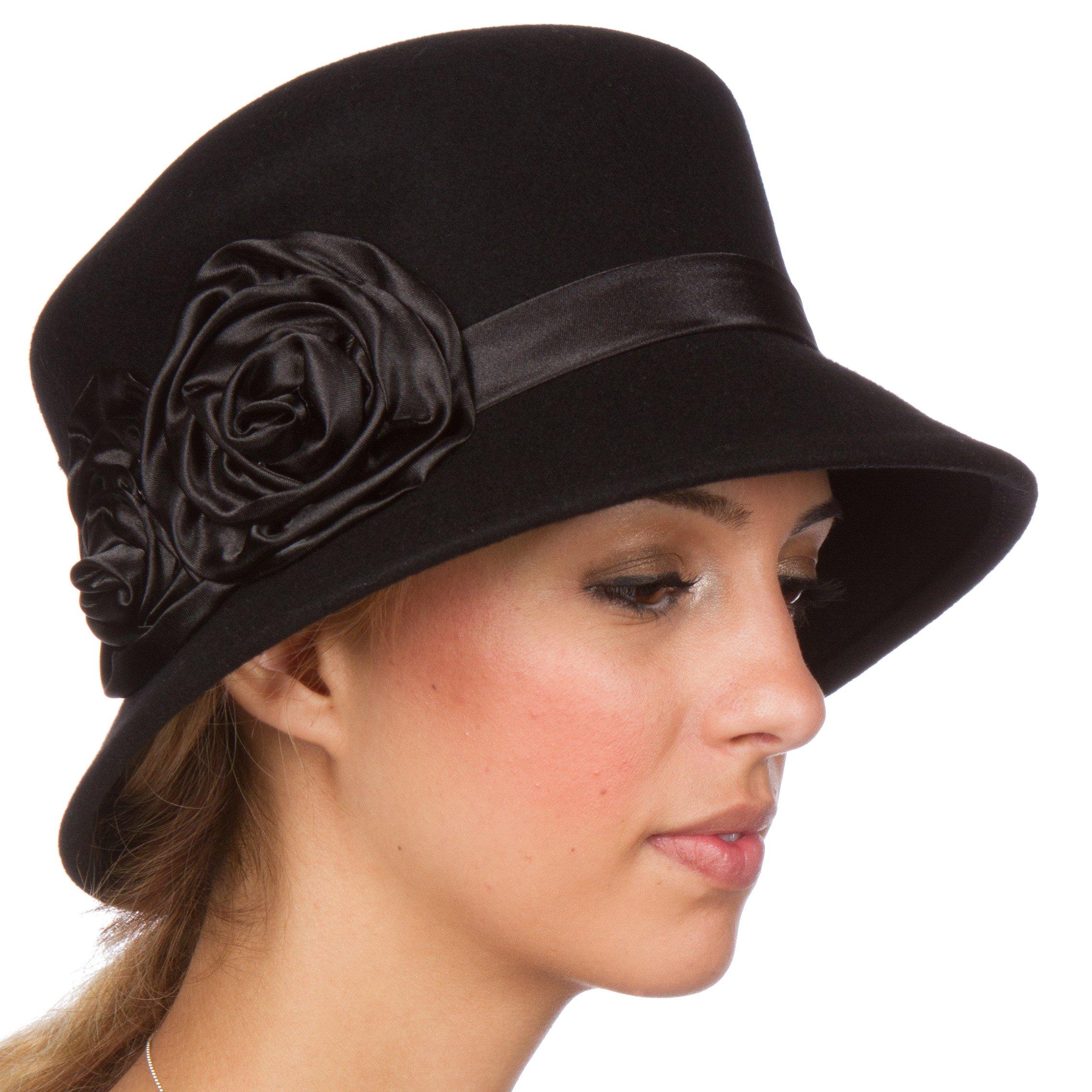 Sakkas 10M Alice Satin Rose Vintage Style Wool Cloche Hat - Black - One Size
