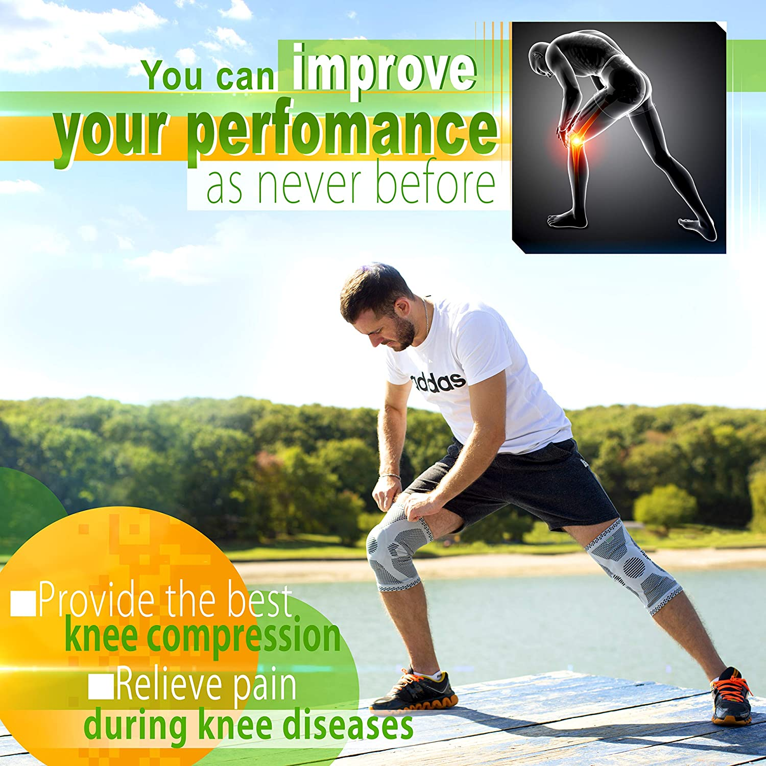 Compression Knee Sleeve for Running Volleyball Sleeve Crossfit Powerlifting Knee Brace for Meniscus Tear Arthritis XL Gray Patella Stabilizer Knee Braces for Men Women Kids Boys ANRI.E