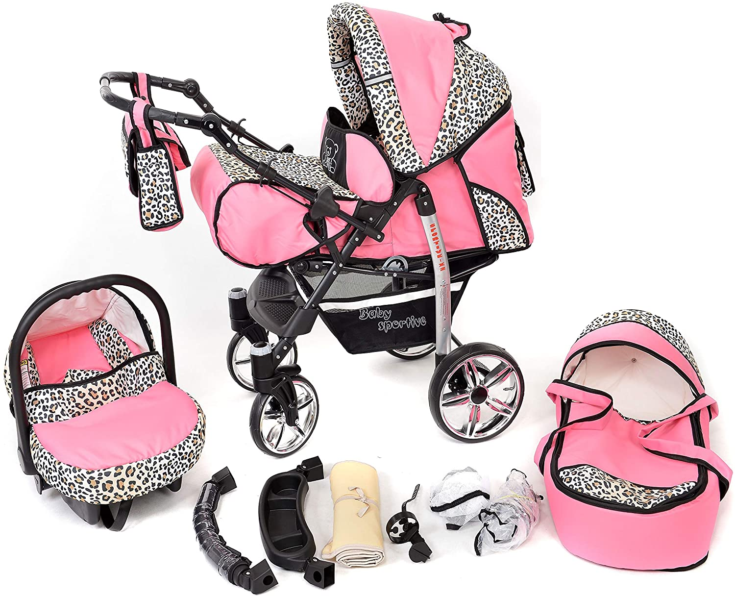 Sportive X2, 3-in-1 Travel System incl. Baby Pram with Swivel Wheels, Car Seat, Pushchair & Accessories (3-in-1 Travel System, Pink & Leopard)