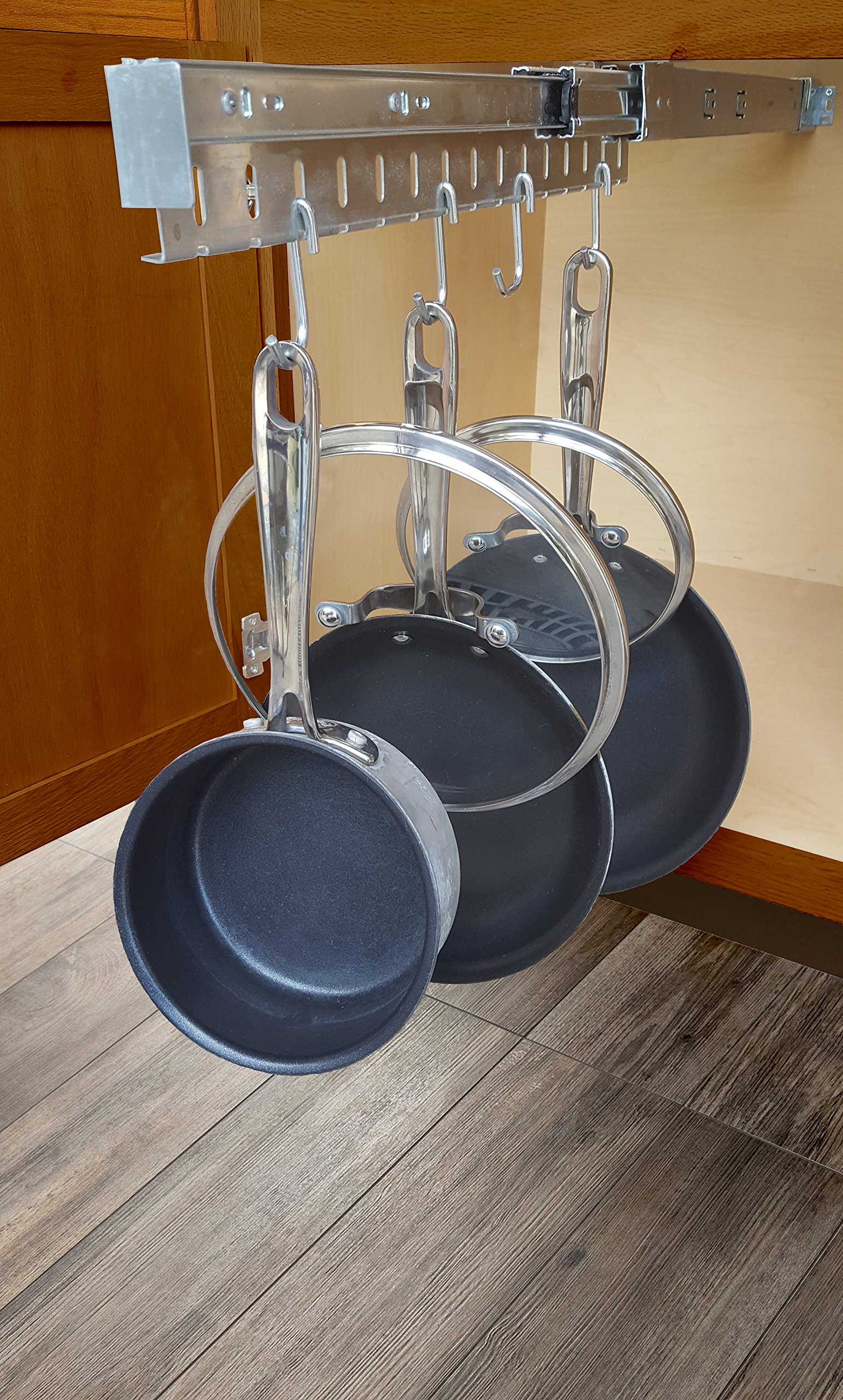 Good Cushion Pan & Lid Holder Dr.Organizer Pot and Pan Cabinet Organizer, Expandable, Steel, 1pc, Gray by Good Cushion