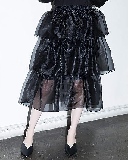 The Drop Falda midi negra de organza a capas y con transparencias ...