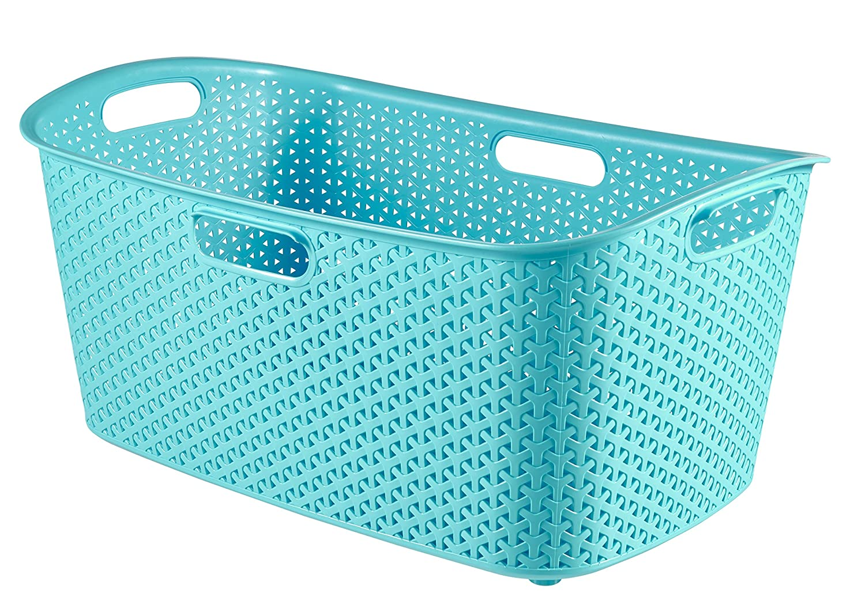 Curver 223391 Aspect Rattan My Style Rectangular Basket 50 L Polypropylene Silver 60 x 39 x 27.8 cm