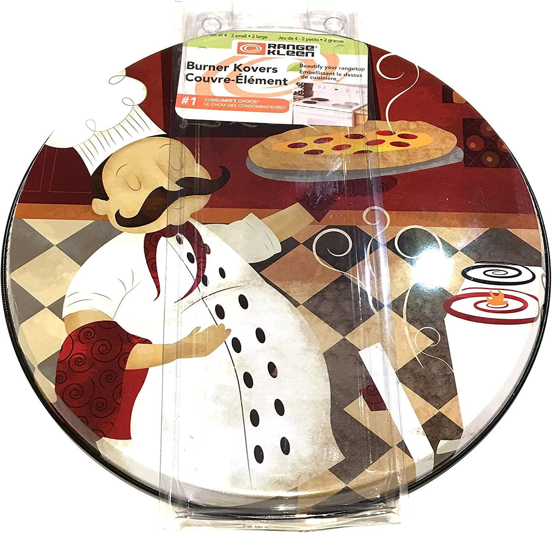 Range Kleen Burner Kovers Stove Top Covers Italian Chef Set of 4