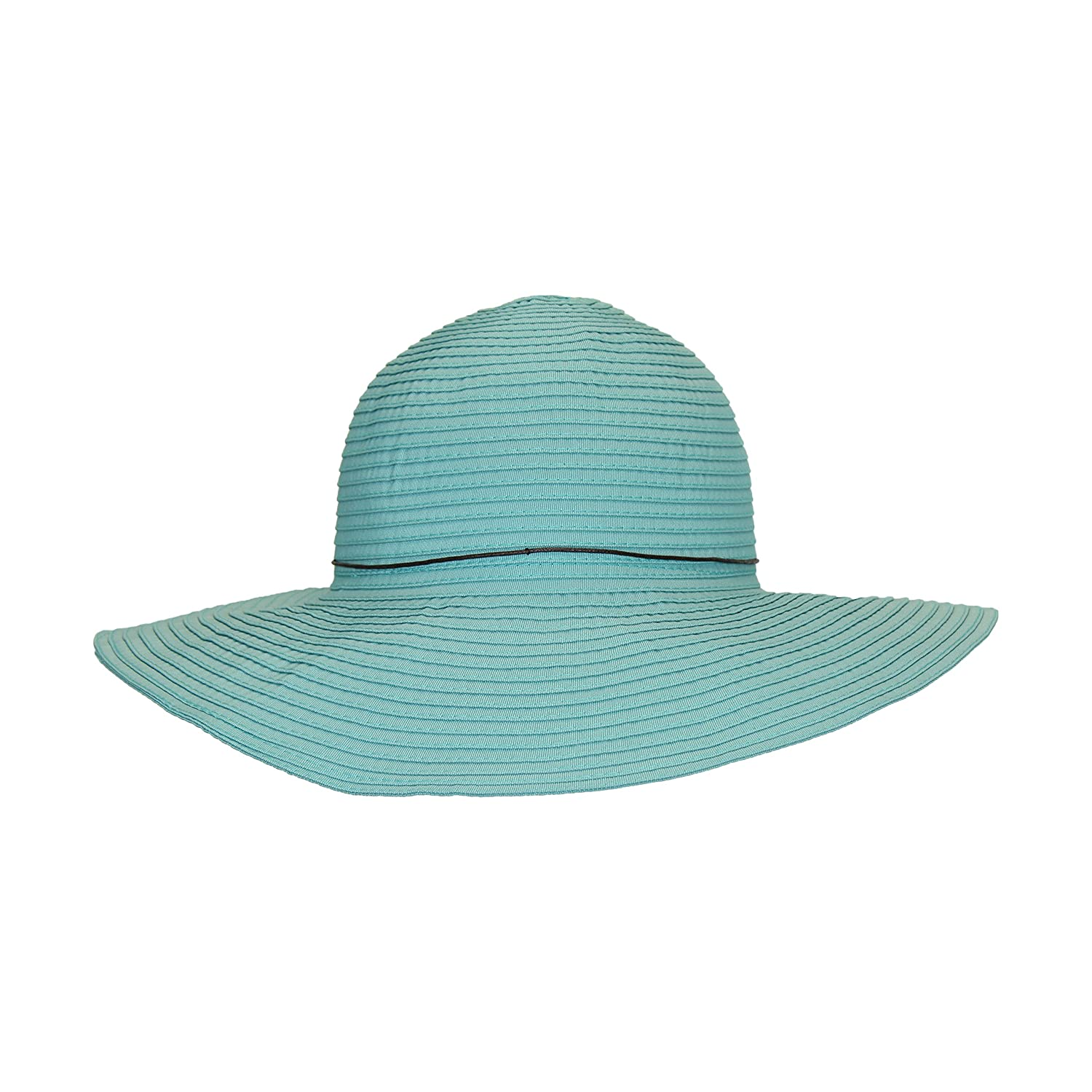 0eaa07d9411 Aqua Light Turquoise Teal Ribbon Crusher Sun Hat, 4 in. Shapeable Brim, SPF  UPF 50 UV, One Size at Amazon Women's Clothing store: