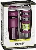 BlenderBottle Combo Pak - Sportmixer Shaker und Gostak Starter 4Pak mit Henkel in einer attraktiven Geschenkverpackung - plum