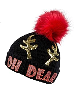 a8074994160 Christmas Holly Jolly Ladies Faux Fur Bobble Hat  Amazon.co.uk  Clothing