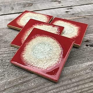product image for Geode Crackle Coaster Set of 4 in Hot Tamale, Geode Coaster, Crackle Coaster, Fused Glass Coaster, Crackle Glass Coaster, Agate Coaster, Ceramic Coaster, Dock 6 Pottery Coaster