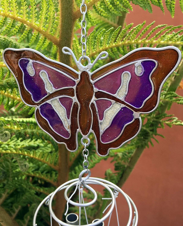 SD Campanilla de Viento con diseño de Mariposas moradas para Colgar en el hogar o el jardín: Amazon.es: Hogar